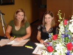Dawn Aldridge Jordan's daughters Jessica and Joanna help register grads at Canards.  Thanks girls!