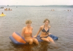 Rhonda Jones and Jan Clowers.  Folly Beach at end of Senior Year.